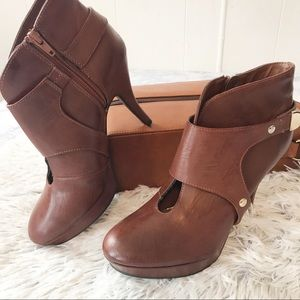 Unlisted Brown Vegan Leather Keyhole Booties